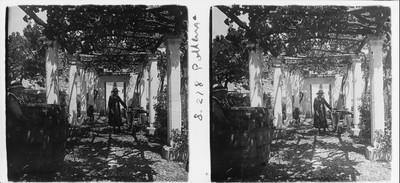Una pagesa sota l´emparrat d'una casa a prop del convent del Rosari a Pollença
