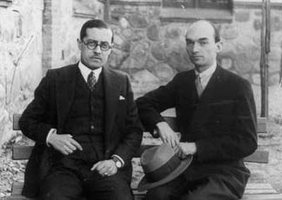 Manuel Blancafort i el seu amic Frederic Mompou a La Garriga