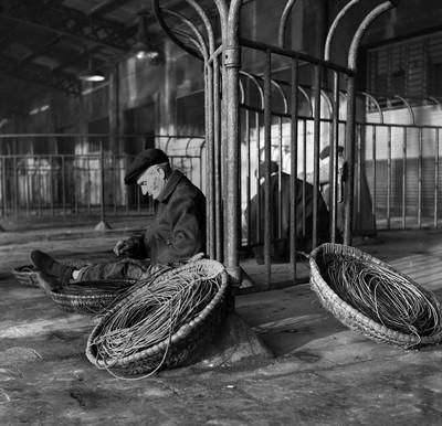 Pescador preparant el palangre en el Moll de Pescadors ( Barcelona )