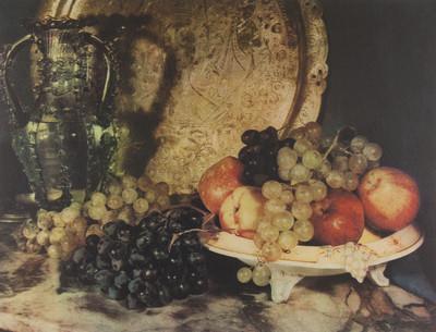 Natura morta amb safata, gerra de vidre i fruita