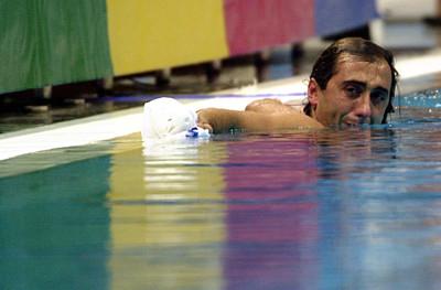 Manel Estiarte, waterpolo, plora en el moment de la seva retirada als Jocs Olimpics de Sidney/ De la sèrie Jocs Olimpics