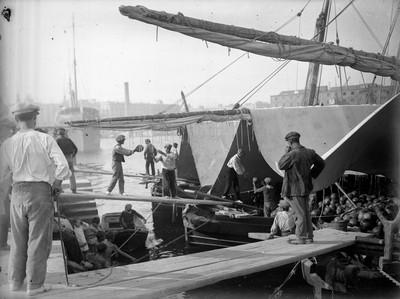 Descàrrega de síndries al port de Barcelona